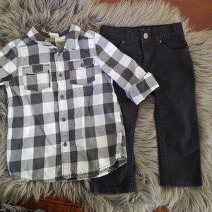 H&M flannel shirt and black jeans